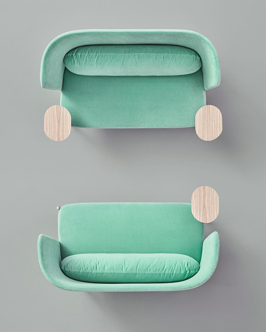 Two Ara sofas in neo mint colour by @perezochando