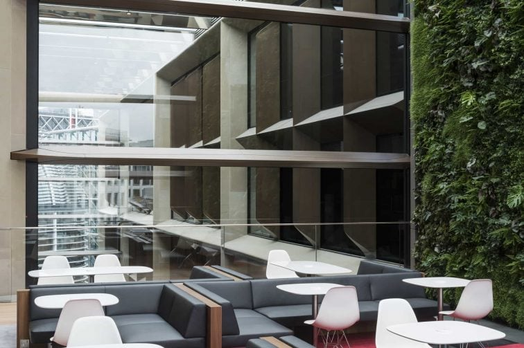 Bloomberg Living wall and informal seating. Photo credit James Newton